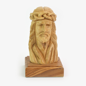 Jesus Christ  Holy Land Carved Olivewood Bust Statue
