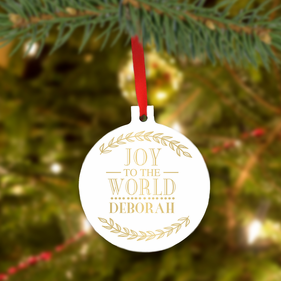 Joy World Personalized Christmas Tree Ornament