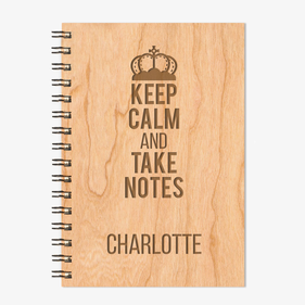 Keep Calm Personalized Wire Bound Wood Notebook