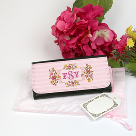 Large Pink Floral Monogram Leatherette Wallet Gift Set