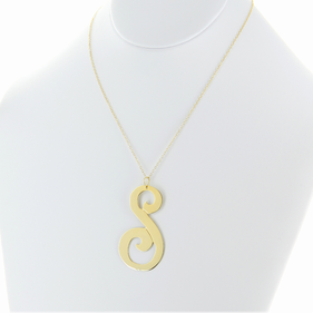 Large Single Initial Necklace in Gold over Silver