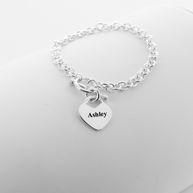 Laser Engraved Bracelet with Heavy Chain