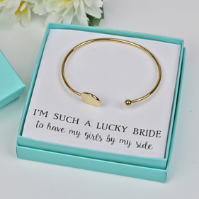 Laser Engraved Script Bridesmaid Monogram Slim Bangle Gift Boxed