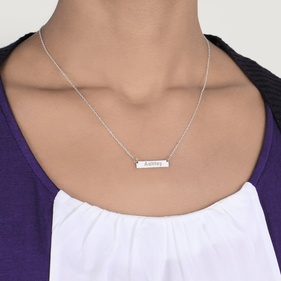 Sterling Silver Mini Bar Necklace Personalized with Name