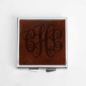 Leather Design Monogram Custom Square Pill Box