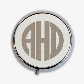 Leather Design Round Monogram Pill Box