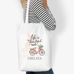 Life Is A Beautiful Ride Custom Cotton Tote Bag