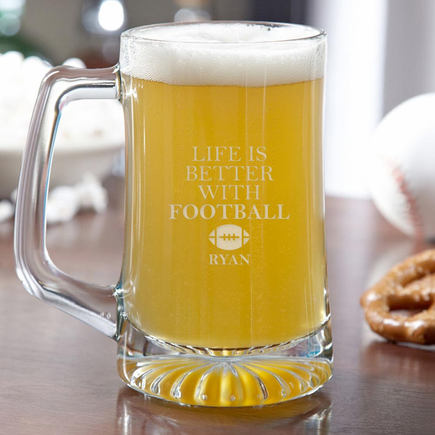 Life Is Better With Football Custom Beer Mug