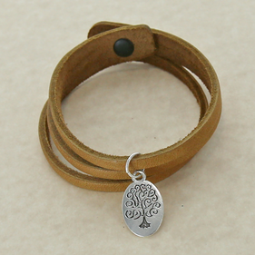 Life Tree Inspirational Leather Charm Bracelet
