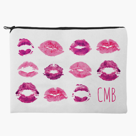 Lip Prints Custom Kisses Makeup Bag