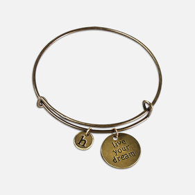 Live Your Dream Custom Antique Charm Bangle