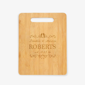 Love Birds Personalized Wooden Cutting Board