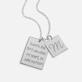 Love for Son Sterling Silver Necklace Personalized w/ Initial