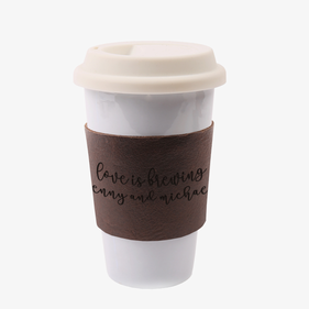 Love Is Brewing Custom Coffee Lover Leather Cup Wrap