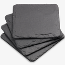 Set Of Four Natural Square Slate Coasters