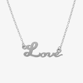 Sterling Silver Love Necklace - 18 Inch Chain