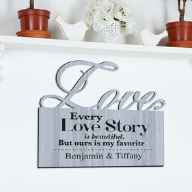 Love Story Personalized Wall Sign