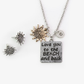 Love You To The Beach And Back Necklace w/ Sunburst Earrings