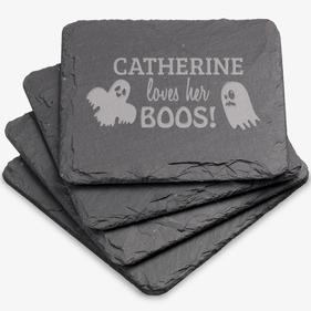 Loves Her Boos Custom Square Slate Coasters