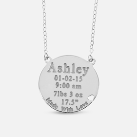 Silver Baby's Birth Necklace for Mommy Personalized w/ Name, Weight of Baby, Date & Time of Birth