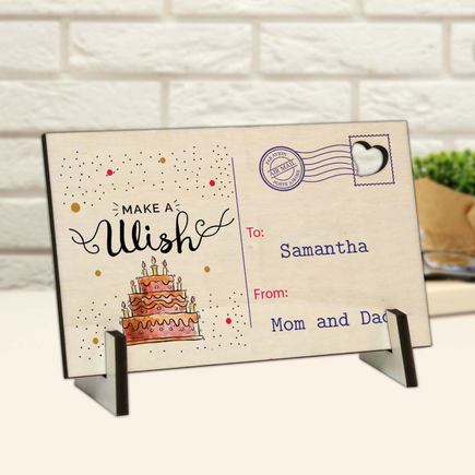 Make A Wish Personalized Wood Postcard