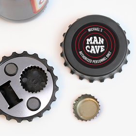 Man Cave Custom Magnetic Bottle-Cap Shaped Bottle Opener