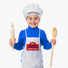 Merry Christmas Custom Cookies Kids Apron & Hat Set