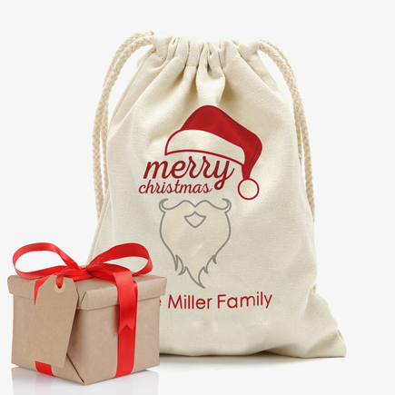 Merry Christmas Personalized Drawstring Sack