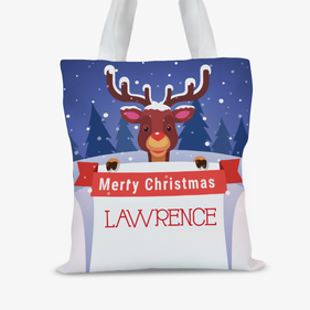 Merry Christmas Personalized Reindeer Tote Bag