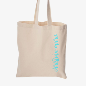 Custom Metallic Name Economical Cotton Tote Bag