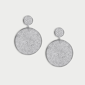 Micro Pave Circle Drop Earrings in Sterling Silver