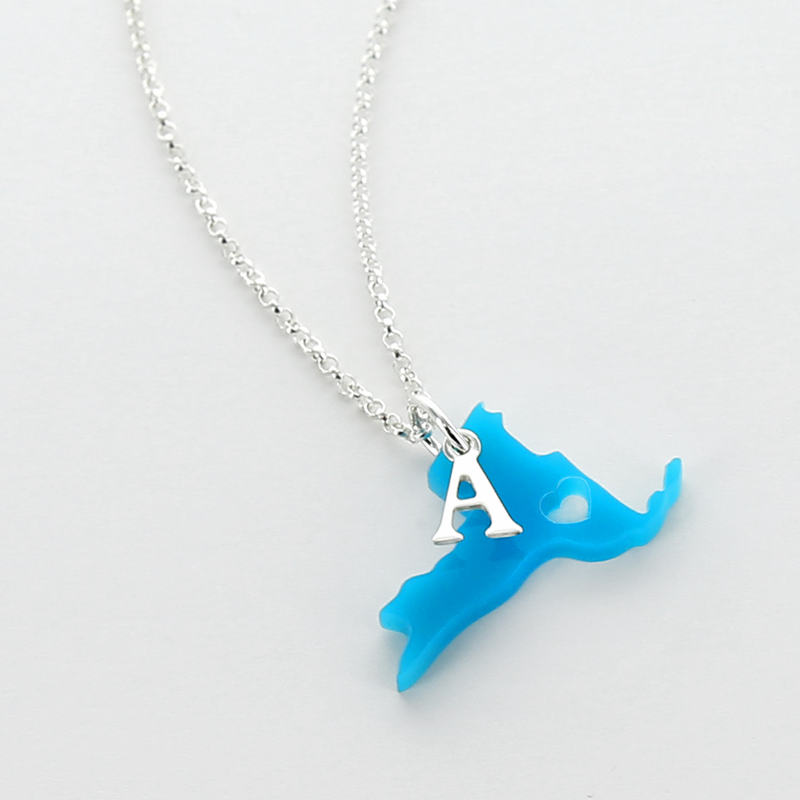 Initial jewelry mini acrylic state pendant buy it for Acrylic letter necklace