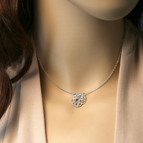 Mini Monogram Sterling Silver Choker Necklace