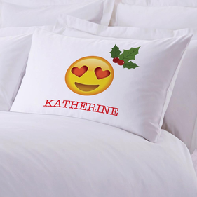 Mistletoe Emoji Personalized Pillowcase