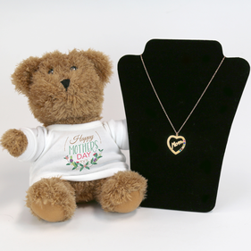Mom's Birthstone Heart Necklace with Mother's Day Bear Gift Set