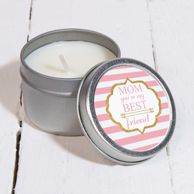 Mom You're My Best Friend Custom Silver Metal Scented Candle