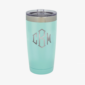 Block Monogram 20 oz Colored Coffee Tumbler w/Clear Lid