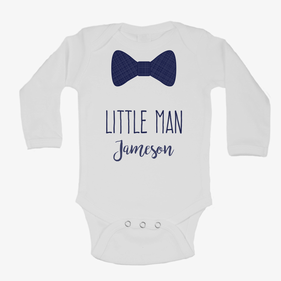 Monogram Baby Tuxedo Long Sleeve One-Piece Bodysuit