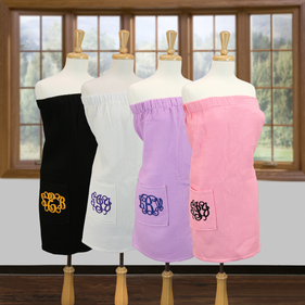 Exclusive Sale - Monogram Waffle Bath Wrap Towels with Pocket