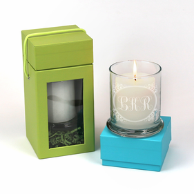 Monogram Candle Holder With White Scented Candle and Gift Box