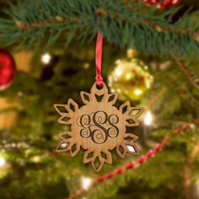 Monogram Christmas Wood Snowflake Ornament