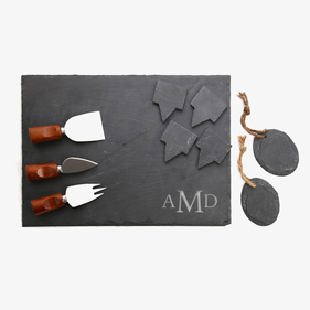 Monogram Custom 10-Piece Slate Cheeseboard & Party Tray