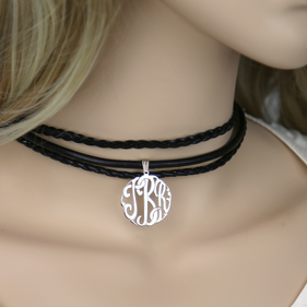 Monogram Custom Layered Black Choker Necklace