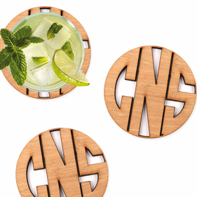 Monogram Custom Round Wood Coaster