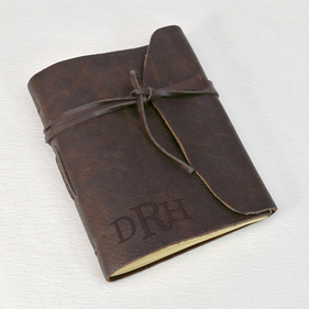 Monogram Genuine Brown Leather-Bound Wrap Journal