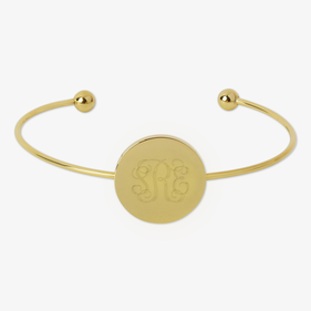 Monogram Gold Stainless Steel Disk Slim Bangle Bracelet