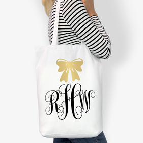 Monogram Bow Sash Cotton Tote Bag