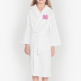 Monogram Kids Waffle Hooded Bathrobe