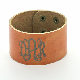 Monogram Leather Cuff Snap Bracelet