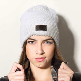 Diamond Monogram Leather Tab Slouchy Beanie